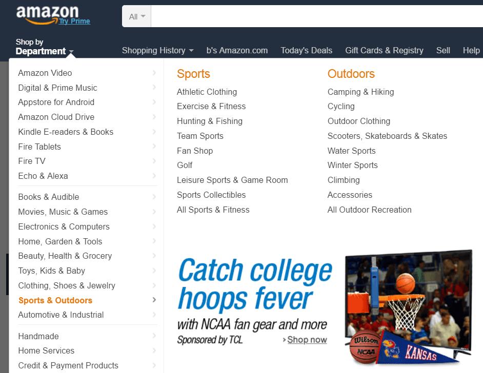 Amazon Sub categories